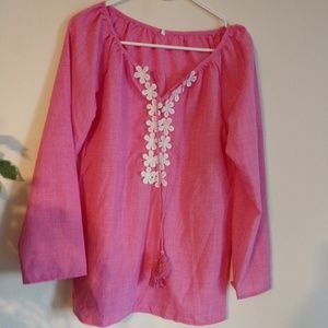 Embroidered Long-Sleeve Shirt, Size M, NWOT